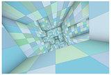 3d futuristic labyrinth green blue shaded vector interior illust