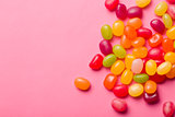 jelly beans on pink background