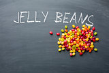 jelly beans on chalkboard