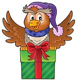 Owl with gift theme image 1