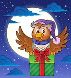 Owl with gift theme image 2