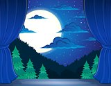 Stage with night landscape