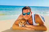 dog and owner  summer holidays