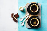 Two Cups of Espresso with Chocolate Cake