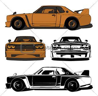 Old sports car set