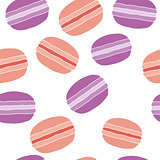 Seamless pattern with colorful macaroon cookies on white. Vector illustration eps 10.
