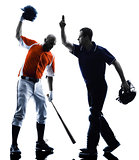 Men baseball players silhouette isolated
