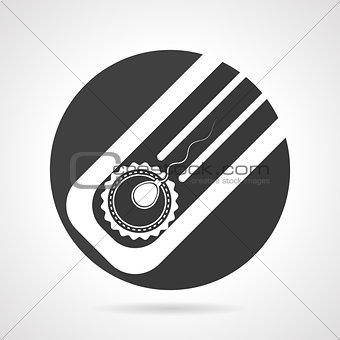 Artificial insemination black round vector icon