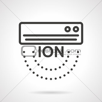Air ionizer black line vector icon