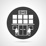 Hospital black round vector icon
