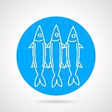 Sea fish blue round vector icon