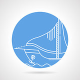 Sail boat round vector icon