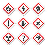 Danger, warning, attention square icons set
