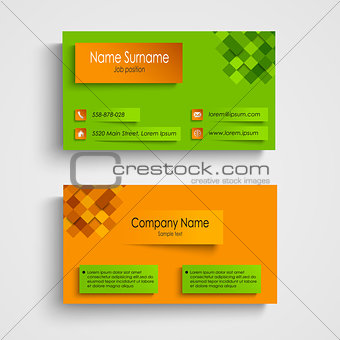 Business card with orange green design template