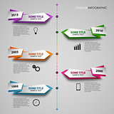 Time line info graphic with colored folded pointers template