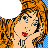 Girl cry Pop art vintage comic