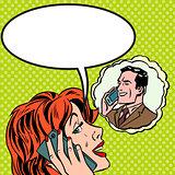 Woman man phone talk Pop art vintage comic