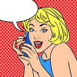 Girl phone talk joy Pop art vintage comic