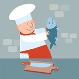 Cook cut up fresh fish. chef in kitchen