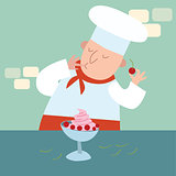 The chef prepares a dessert with berries