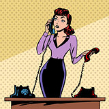 Girl Secretary answers the phone progress and communication tech