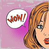 wow surprise girls pop art comics retro style Halftone old paper