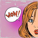 wow surprise girls pop art comics retro style Halftone old paper