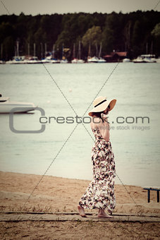old fashion summer girl with hat