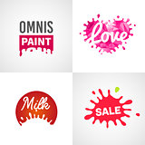 Set of different splatter vector design elements milk sale paint love