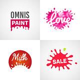 Set of different splatter vector design elements milk sale paint love