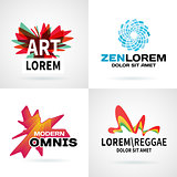 Set of modern colorful abstract logo emblem vector design elements