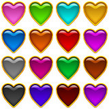 Colorful icons hearts, set