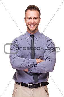 Young handsome man smiling isolated on white