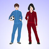 Two sports woman with a soccer ball.