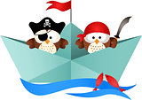 Pirates owls in a boat