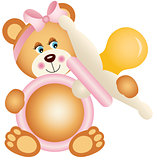 Teddy bear girl holding pink baby pacifier
