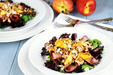 Peach, Gorgonzola And Pastrami Salads