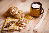 almond cookies on light wood table