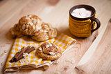 almond cookies on light wood table