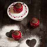 chocolate cupcakes with heart shapes