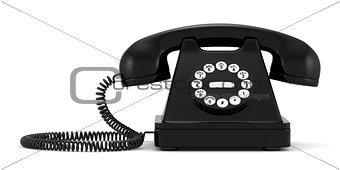 Black old-fashioned phone on white background
