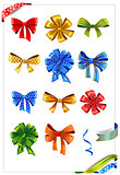 Set of gift bows with ribbons.