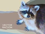 Vector racoon made of polygons. Eps 10.