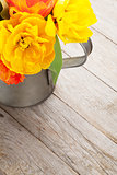 Colorful tulips bouquet in watering can