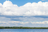 Blue sky and clouds over river