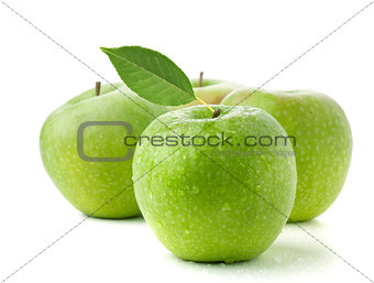 Four ripe green apples