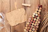 Wine bottle shaped corks, wine glass and corkscrew