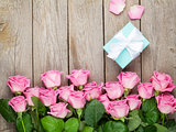 Pink roses and valentines day gift box