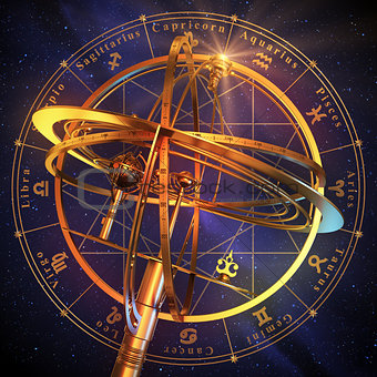 Armillary Sphere With Zodiac Symbols Over Blue Background.