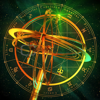 Armillary Sphere With Zodiac Symbols Over Green Background.